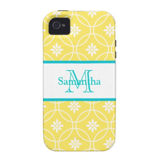 Yellow Teal Geometric Pattern iPhone 4 Cover