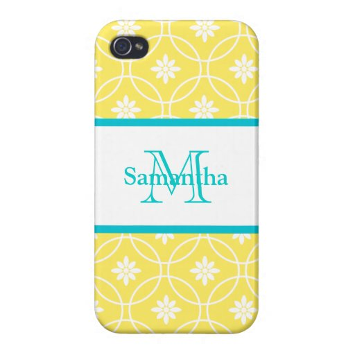 Yellow Teal Geometric Pattern Cover For iPhone 4