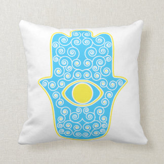 Yellow Teal Hamsa-Hand of Miriam-Hand of Fatima.pn Cushion