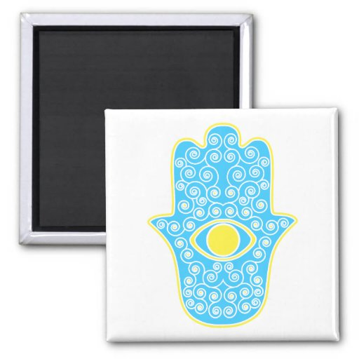 Yellow Teal Hamsa-Hand of Miriam-Hand of Fatima.pn Refrigerator Magnet