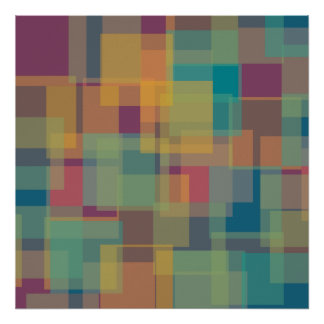 Yellow Teal Purple Pink Colour Squares Poster