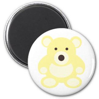 Yellow Teddy Bear 6 Cm Round Magnet