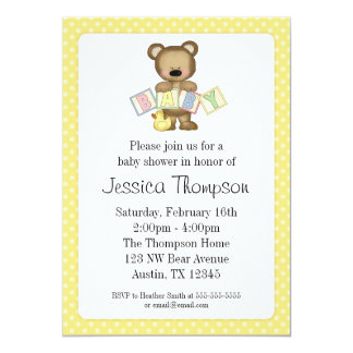 "Yellow Teddy Bear Blocks Baby Shower Invitations 5"" X 7"" Invitation Card"