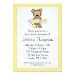 Yellow Teddy Bear Blocks Baby Shower Invitations