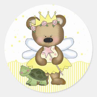 Yellow Teddy Bear Fairy Princess Round Stickers Round Stickers