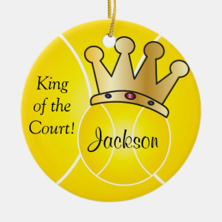 Yellow Tennis Ball | King of the Court Personalize Christmas Ornament
