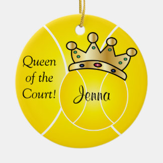 Yellow Tennis Ball| Queen of the Court Personalize Christmas Ornament