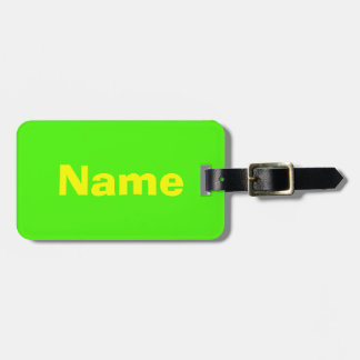 Yellow text on Green background Luggage Tag