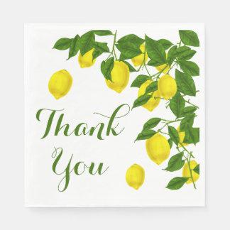Yellow Thank You Lemon Green Wedding Party Disposable Serviettes
