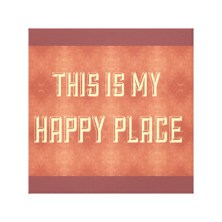 "Yellow ""This Is My Happy Place"" Peach  Deco Art Gallery Wrap Canvas"