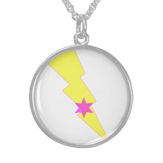 Yellow Thunder Lightning Silver Round Necklace