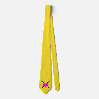 Yellow Tie W/Arrows & Pink Heart
