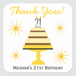 Yellow Tiered Cake 21st Birthday Favor Stickers