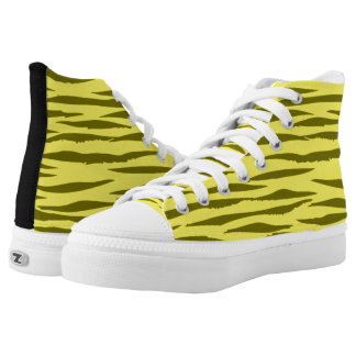 Yellow Tiger high top tennis shoes Printed Shoes