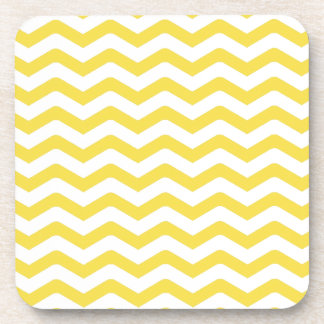 Yellow Tight Chevron Pattern Drink Coasters