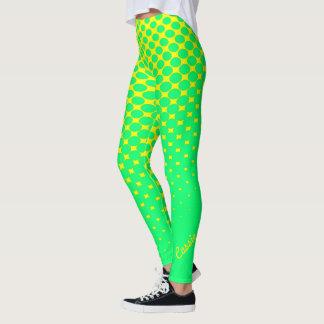 Yellow to Green Gradient Pattern Leggings