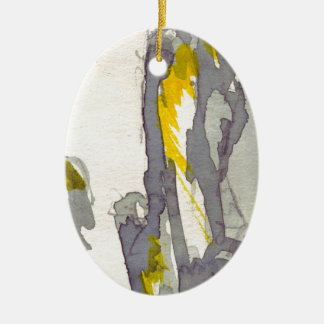 Yellow to Grey Ceramic Oval Decoration
