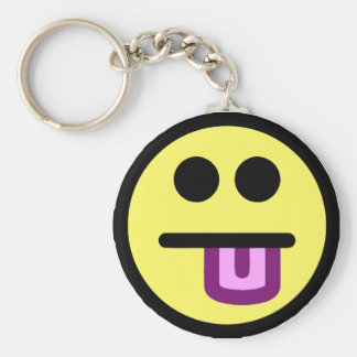 Yellow Tongue Out Smiley Face Basic Round Button Key Ring