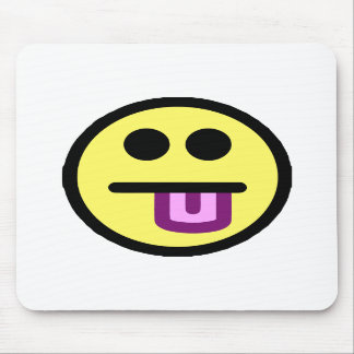 Yellow Tongue Out Smiley Face Mouse Pads