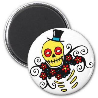 Yellow Top Hat Skeleton 6 Cm Round Magnet