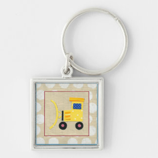 Yellow Toy Bulldozer Truck by Chariklia Zarris Key Ring