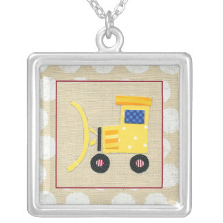 Yellow Toy Bulldozer Truck by Chariklia Zarris Silver Plated Necklace