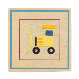 Yellow Toy Bulldozer Truck by Chariklia Zarris Wood Coaster