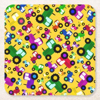 Yellow tractors square paper coaster