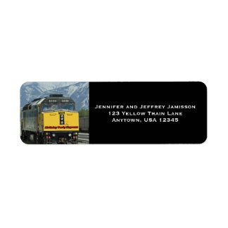 Yellow Train Birthday Return Address Labels Black
