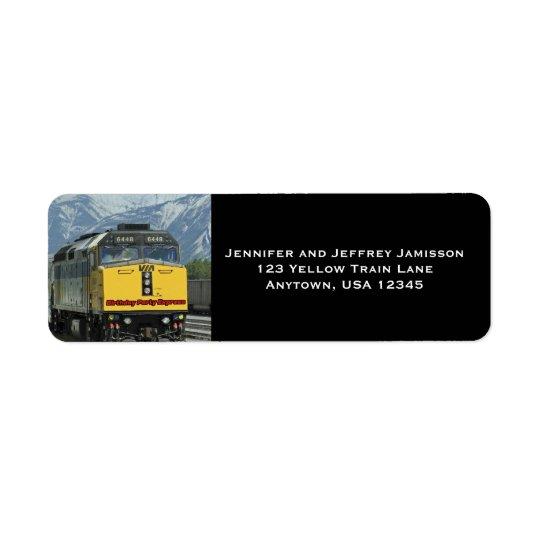 Yellow Train Birthday Return Address Labels Black