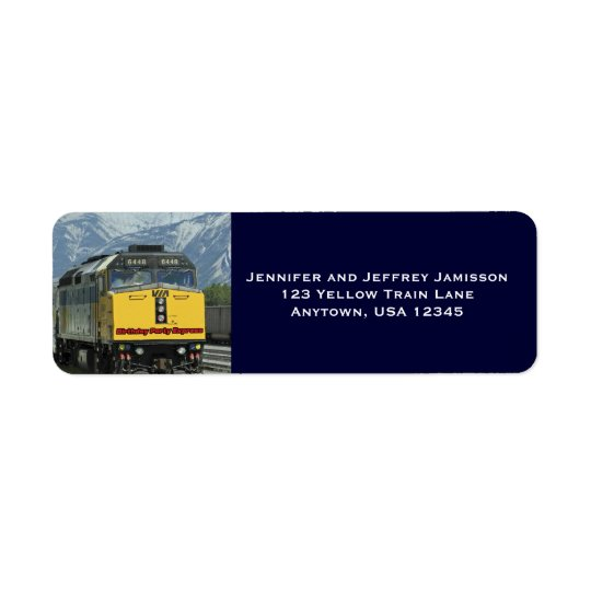 Yellow Train Birthday Return Address Labels Blue