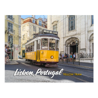 yellow tram in lisbon, portugal postcard