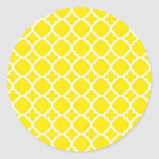 Yellow Trellis Design Classic Round Sticker