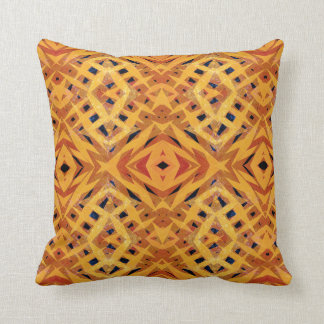 Yellow tribal shapes pattern throw pillow