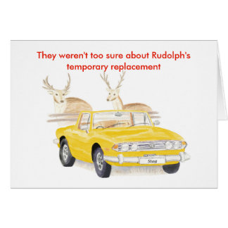 Yellow Triumph Stag Christmas card