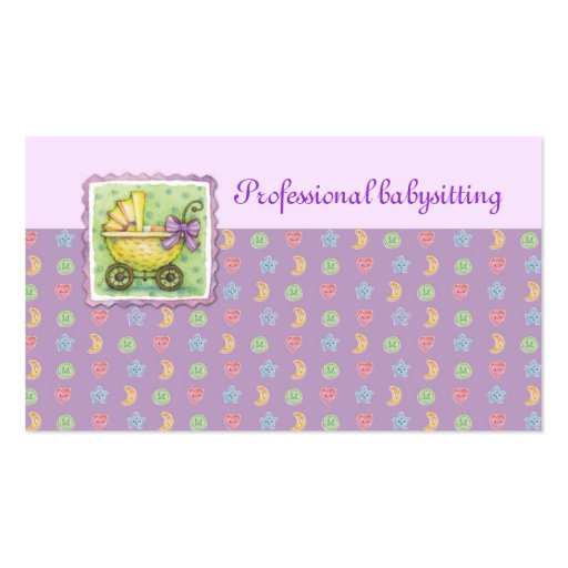 Yellow Trolley Babysitting Purple Card Business Card Templates