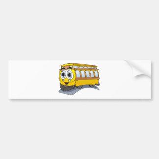 Yellow Trolley Cartoon Bumper Sticker