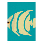 Yellow Tropical Fish Stencil Poster