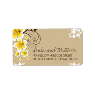 Yellow Tropical Hibiscus Wedding Address Labels