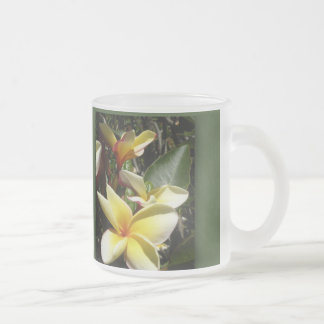 Yellow tropical plumeria flower frosted glass coffee mug
