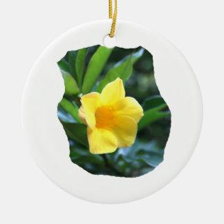 Yellow Trumpet Flower Photograph Round Ceramic Decoration
