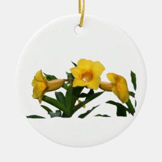 Yellow Trumpet Flowers cutout photo Round Ceramic Decoration
