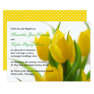 Yellow Tulip - 3x5 Wedding Announcement