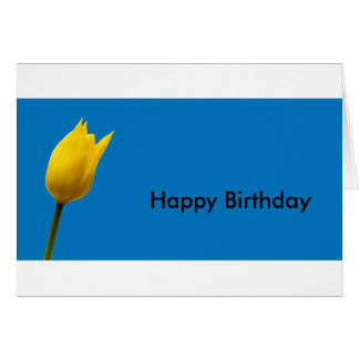 Yellow Tulip Blue Birthday Card