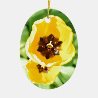 Yellow tulip christmas ornament