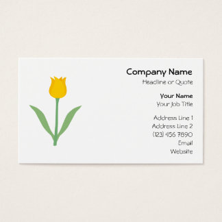 Yellow Tulip Flower. Business Card