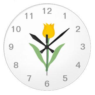 Yellow Tulip Flower. Large Clock
