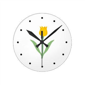 Yellow Tulip Flower. Round Clock