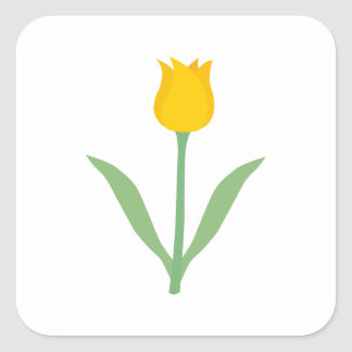 Yellow Tulip Flower. Square Sticker