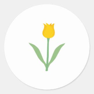 Yellow Tulip Flower Round Stickers